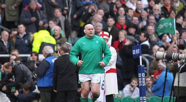 Munster legend John Hayes leads out Ireland against England when he won his 100th international cap