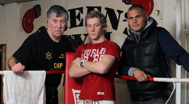 John Breen, debutant Fergal McCrory and world title challenger Martin Murray at Breen's Gym in Belfast yesterday