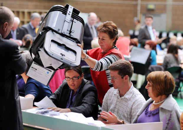 Northern Ireland Assembly election May 2011: Counting starts in the Northern Ireland Assembly election at Newtownards Leisure Centre