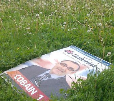 Assembly election May 2011: Fred Cobain election poster. Taken on the Doagh Road, Newtownabbey. Submitted by reader Bill Corr