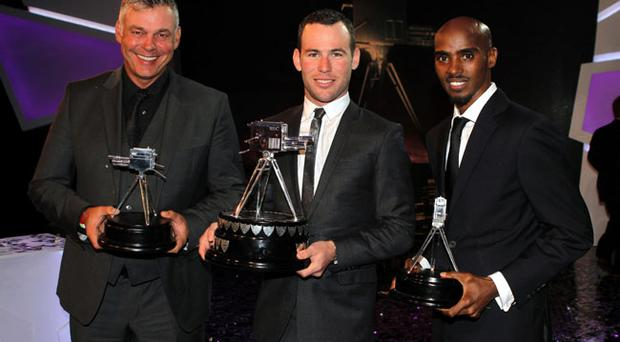 BBC Sports Personality of the Year 2011, Mark Cavendish (centre), second placed Darren Clarke (left) and third placed Mo Farah
