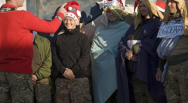 Soldiers from 1st Battalion The Yorkshire Regiment rehearsing their Christmas Pantomime in Afghanistan