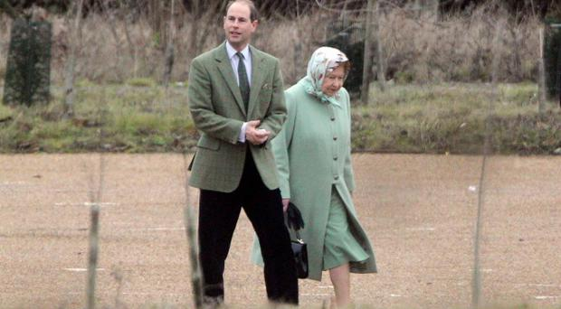 Queen Elizabeth II and Earl of Wessex leave Papworth Hospital in Cambridge, where The Duke of Edinburgh is staying after feeling pains in his chest.