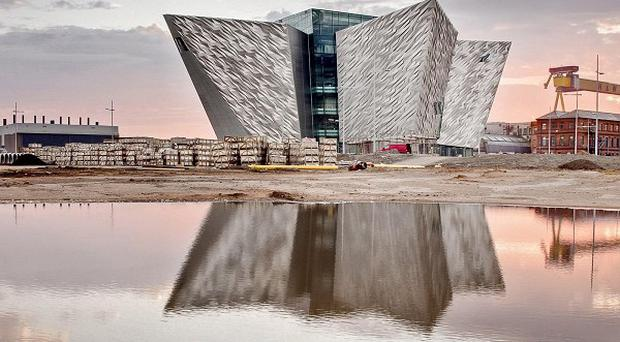 The eye-catching building is made up of 3,000 aluminium panels shaped like the vessel's hull