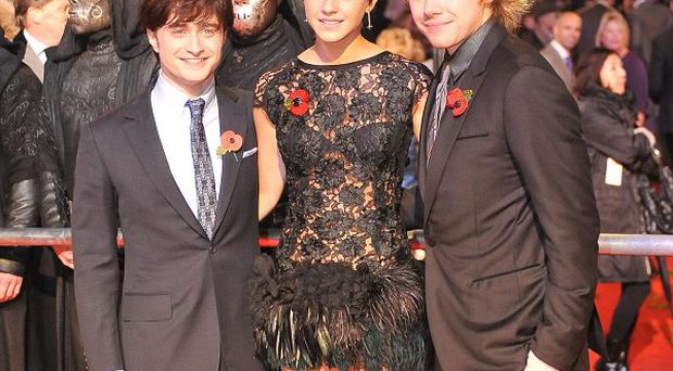 Daniel Radcliffe, Emma Watson and Rupert Grint attend the World Premiere of Harry Potter And The Deathly Hallows