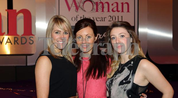 Press Eye Belfast - Northern Ireland - 8th December 2011 - 2011 Belfast Telegraph Woman of the Year Awards in Association with Dixons of Coleraine at the Ramada Plaza Hotel Belfast. Emma Coburn, Alison Paul and Denise Kelly Picture by Kelvin Boyes / Press Eye.