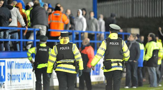 Carling Premier League, Glenavon v Portadown. Crowd trouble following the big Boxing day derby game at Mourneview Park
