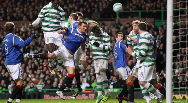 GLASGOW, SCOTLAND - DECEMBER 28: Joe Ledley of Celtic scores during the Clydesdale Bank Premier League match between Celtic and Rangers at Celtic Park on December 28, 2011 in Glasgow, Scotland. (Photo by Jeff J Mitchell/Getty Images)