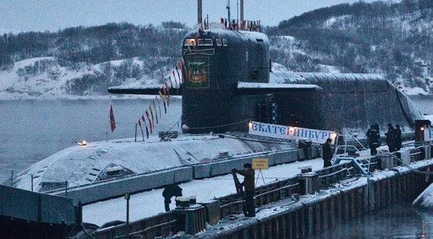 A fire broken out on the Russian Yekaterinburg nuclear submarine (AP)
