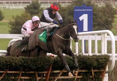 Home run: Unaccompanied, ridden by Paul Townend, jumps the last to win the Istabraq Festival Hurdle at Leopardstown yesterday