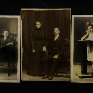 Photographs of (from left) Felix Asplund, Selma and Carl Asplund and Lillian Asplund, are seen at Henry Aldridge and Son auctioneers in Devizes, Wiltshire, England Thursday, April 3, 2008. The locket and one of the rings were recovered from the body of Carl Asplund who drowned on the Titanic, they are all part of the Lillian Asplund collection of Titanic related items.