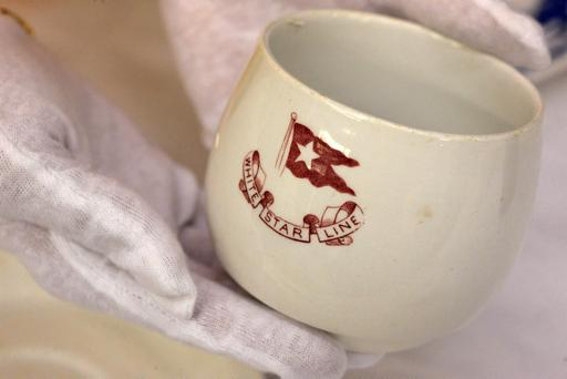 Third-class tea cup china used by passengers and the crew, is shown as part of the artifacts collection at a warehouse in Atlanta, Friday, Aug 15, 2008. The 5,500-piece collection contains almost everything recovered from the wreckage of the RMS Titanic, which has sat 2.5 miles below the surface of the Atlantic ocean since the boat sank on April 15, 1912.