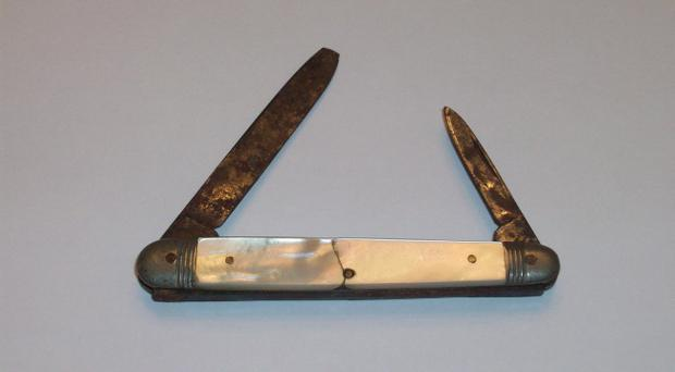 The pearl penknife, recovered from the body of Edmund Stone, victim of the Titanic disaster