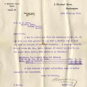 A compensation letter sent to Millvina Dean's mother from the Titanic Relief Fund.