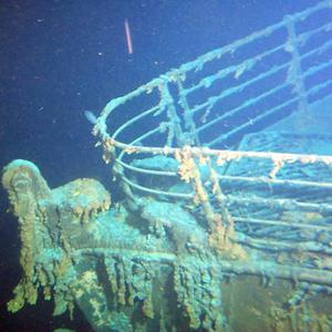 Bow of Titanic - Photographed by Leonard Evans on 2 September 2000 from submersible Mir-1 -- 2.35 miles below surface of Atlantic Ocean.