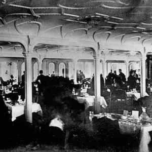1st class dining room on RMS Titanic taken by Father Browne.