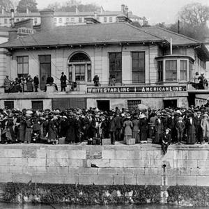 White Star Wharf, Queenstown (Cobh) showing crowds waiting to embark on the tenders in a picture taken by Father Browne.