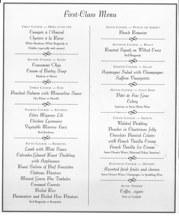 First Class menu from the RMS Titanic.