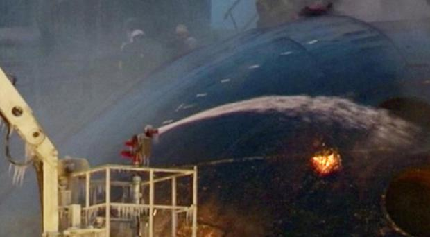 A fire onboard the Yekaterinburg has left seven crew members injured (Ru-RTR)