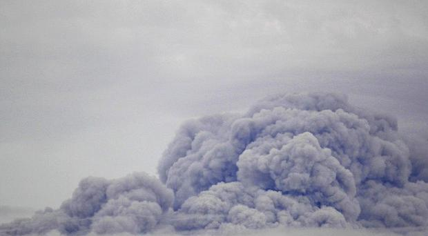 An ash cloud was released from the Cleveland Volcano in Alaska