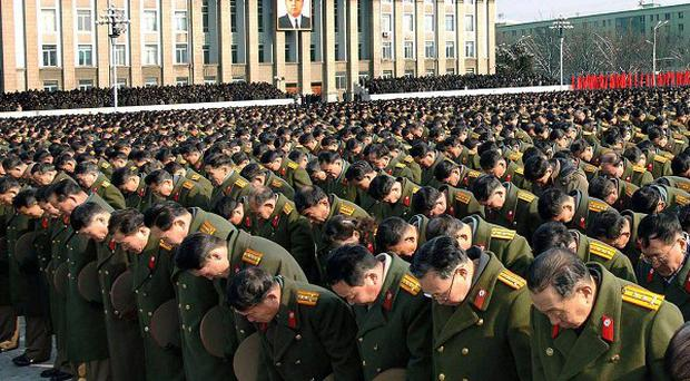 Military personnel during a national memorial service for late North Korean leader Kim Jong Il, in Pyongyang, North Korea (AP)