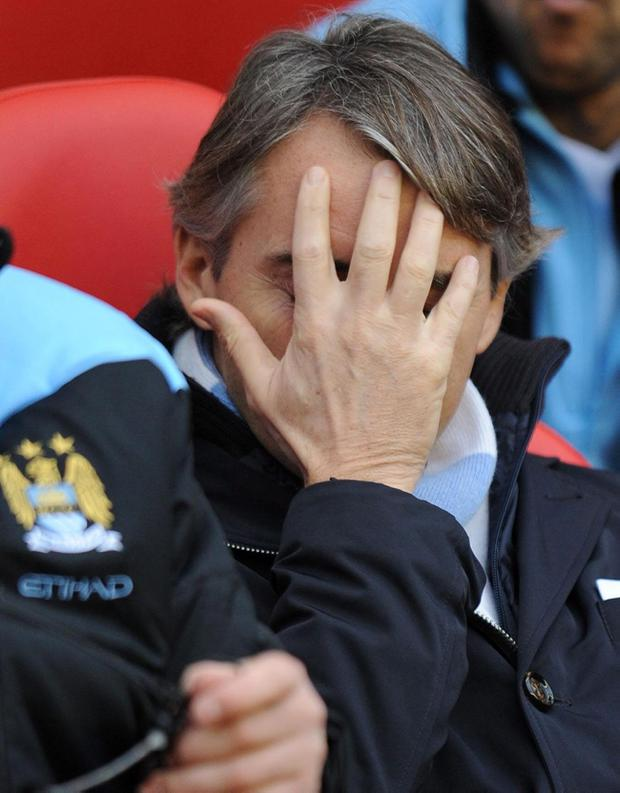 Manchester City manager Roberto Mancini during the Barclays Premier League match at the Stadium of Light, Sunderland