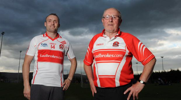 Paddy Bradley (left) says his manager John Brennan (right) was a constant support to him as he continued his fight to regain fitness and resume battle for Derry