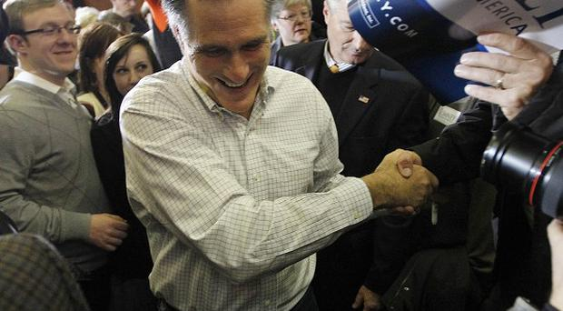 Republican presidential candidate Mitt Romney during a campaign appearance in Council Bluffs, Iowa (AP/Chris Carlson)