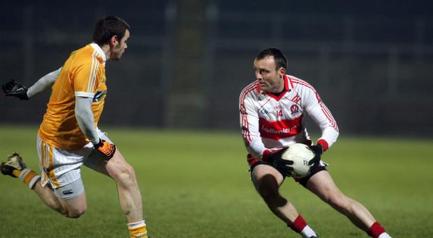 Paddy Bradley (right) is in the reckoning for a place in Derry's Dr McKenna Cup plans after injury