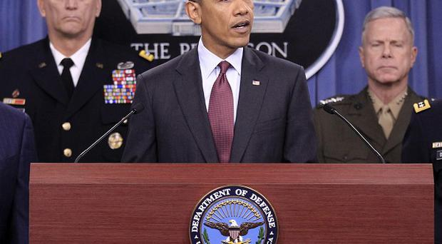 US President Barack Obama outlines his strategic defence policy at at the Pentagon (AP)