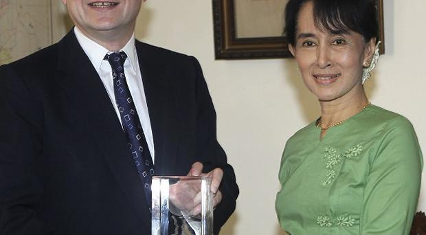 Foreign Secretary William Hague meets Burma's pro-democracy leader Aung San Suu Kyi during his two-day visit to the country (AP)