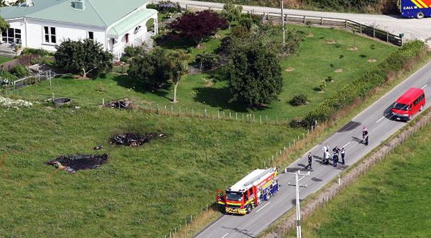 The area where a hot air balloon crashed after it caught on fire in Carterton, New Zealand (AP)
