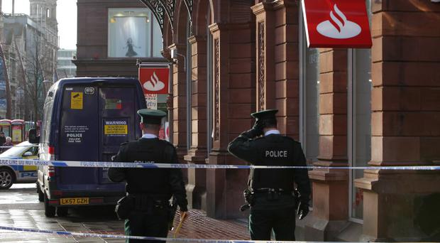 The scene of this morning's robbery at the Santander branch in Royal Avenue, Belfast