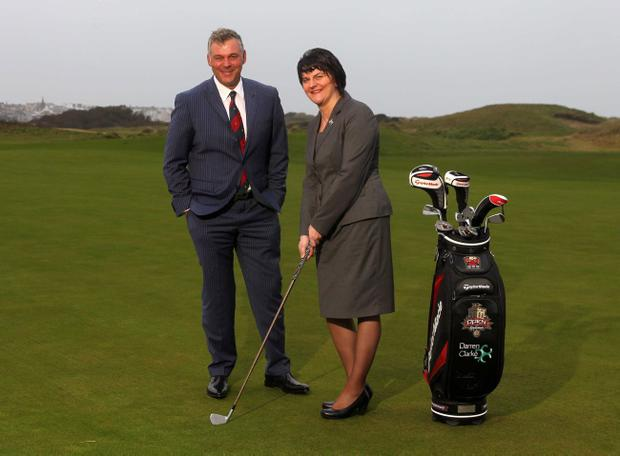 Tourism Minister Arlene Foster and Darren Clarke welcome the announcement that this year's Irish Open will be staged at Royal Portrush