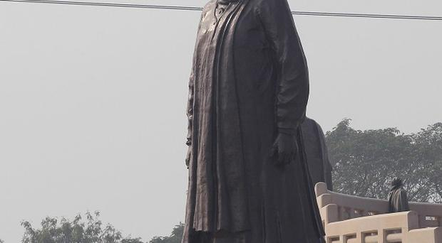 One of the giant statues of the Chief Minister of Uttar Pradesh, Mayawati, which have been ordered covered up to avoid breaking election rules (AP)