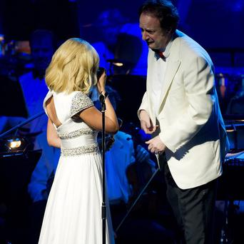 Katherine Jenkins was comforted by conductor Anthony Inglis when she got tearful during her Oxford concert