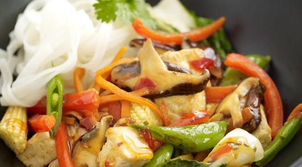 Sweet chilli tofu stir-fry