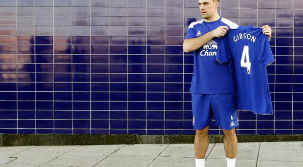 Everton's new signing Darron Gibson is unveiled during a photocall at Finch Farm, Liverpool