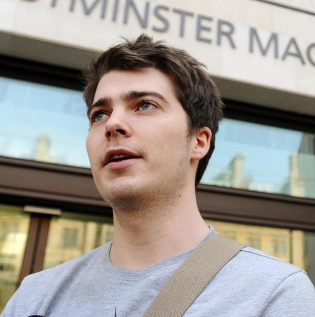 Richard O'Dwyer outside Westminster Magistrates' Court, where he was told he will be extradited to the United States