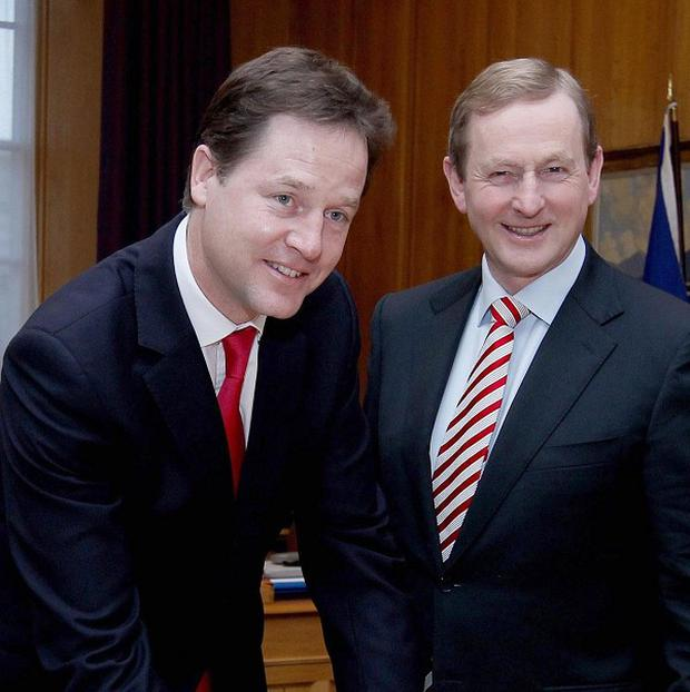 Britain's Deputy Prime Minister Nick Clegg meets Taoiseach Enda Kenny in Government Buildings, Dublin