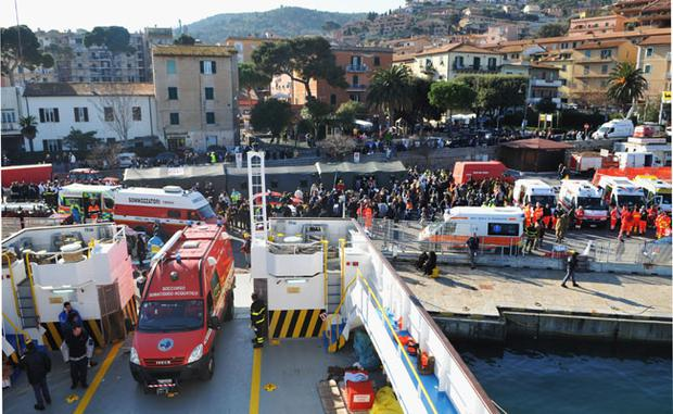 GIGLIO PORTO, ITALY - JANUARY 14: A general view of the scene on the island of Giglio, near to where the cruise ship Costa Concordia ran aground, on January 14, 2012 in Giglio Porto, Italy. More than four thousand people were on board when the ship hit a sandbank. At least 3 people have been confirmed dead and another 50 are unaccounted for. (Photo by Laura Lezza/Getty Images)