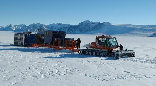 Equipment being delivered to the British camp at the subglacial Lake Ellsworth in Antarctica (PA/University of Edinburgh/British Antarctic Survey)