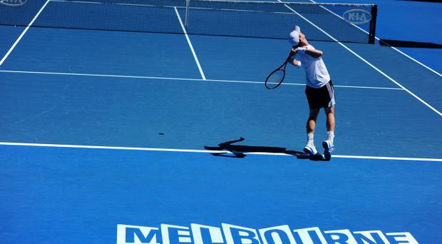 Andy Murray during a practice session for the 2012 Australian Open at Melbourne Park in Melbourne, Australia