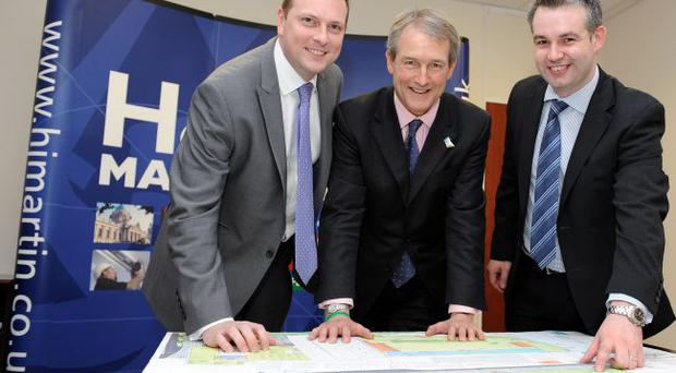 Neil Dickson (left), H&J Martin regional director, with Secretary of State Owen Paterson and Ryan McShane, H&J Martin LOCOG account manager