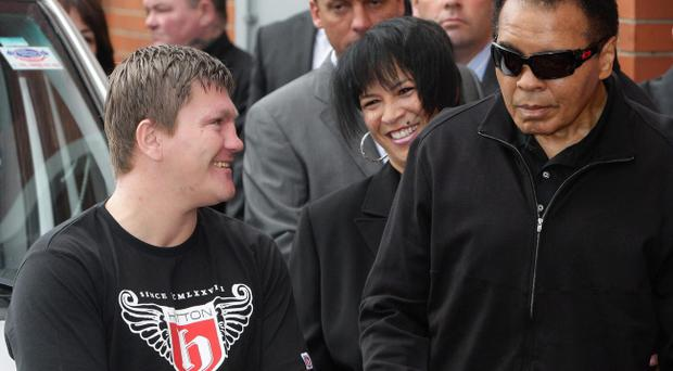 26/08/2009:Ricky Hatton (left) and boxing legend Muhammad Ali.