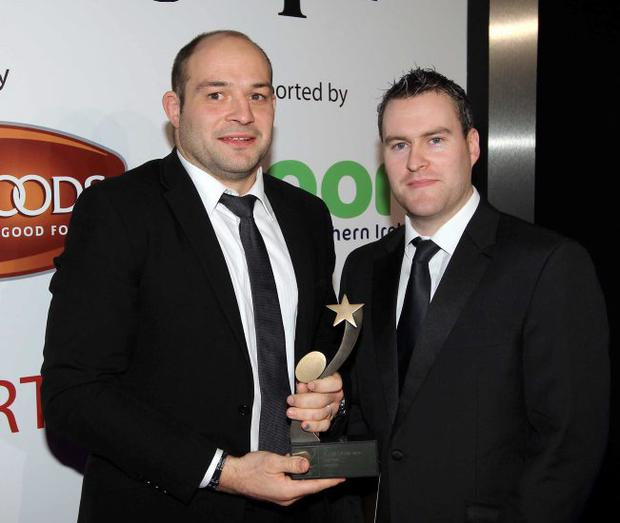 Rory Best being presented with his Player of the year award by David Lawlor, marketing executive, Linwoods. 2011 Linwoods and Sport Northern Ireland Belfast Telegraph Sports Awards at the Ramada Hotel, Belfast.