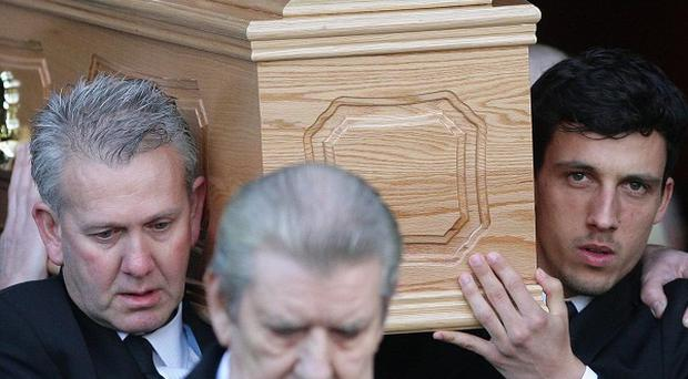 Gary Ablett's coffin is carried from Liverpool Cathedral