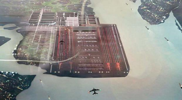 An architect's impression of how the Thames Estuary Airport could look