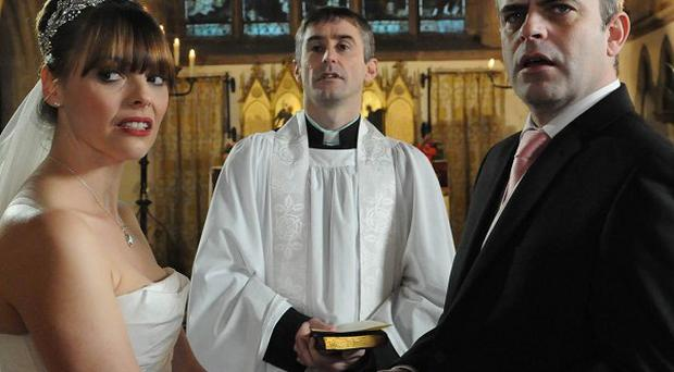 The wedding of Steve McDonald and Tracy Barlow is interrupted by Becky McDonald