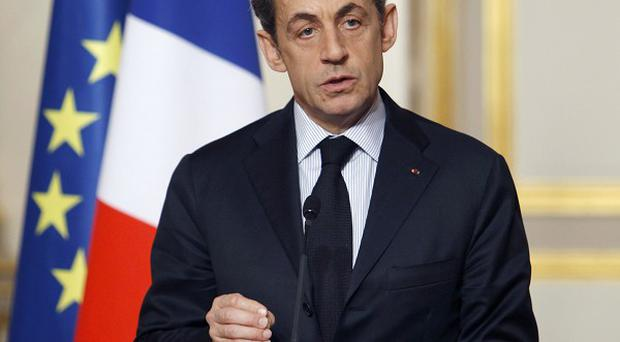 French President NIcolas Sarkozy following a crisis cummit with unions, he announced an economic kickstart plan (AP)